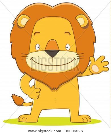Lino The Lion Cartoon Waving Hand