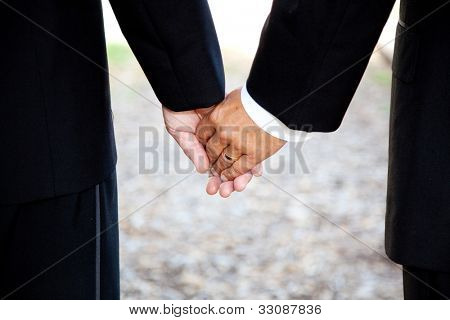 Closeup of a gay couple holding hands, wearing a wedding ring.  Couple is a hispanic man and a caucasian man.