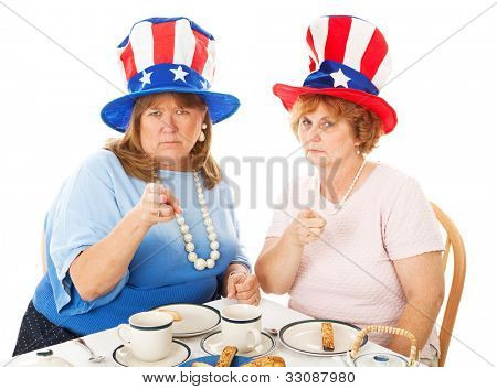 Two conservative American Tea Party voters, angrily pointing their fingers.