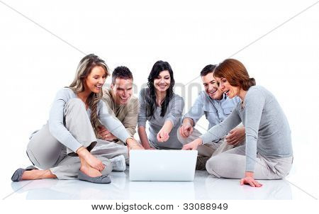 Group of people with laptop computer. Isolated over white background