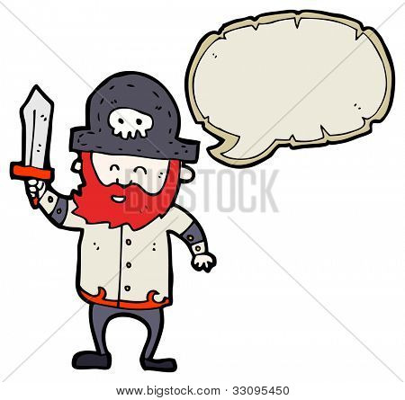 cartoon red beard pirate captain