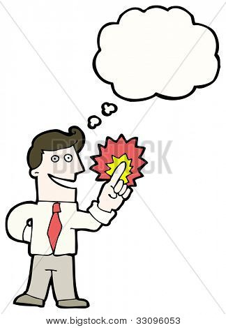cartoon businessman with magic touch