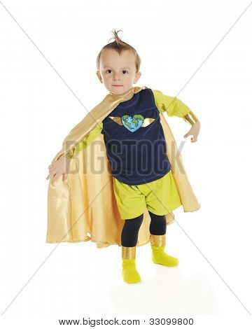 "Portrait of ""Planet Man"", an adorable, preschool superhero whose job is to protect the ecology.  On a white background."