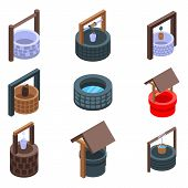 Water Well Icons Set. Isometric Set Of Water Well Vector Icons For Web Design Isolated On White Back poster