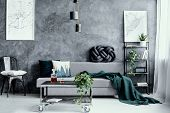 White Pillow On Black Metal Chair Next To Grey Sofa With Pillow In Dark Living Room Interior With Ma poster