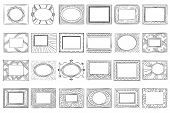 Hand Drawn Picture Frames. Sketch Frame, Doodle Style Photo And Art Mirror Frames. Square Framing Bo poster