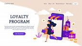 Reward Program Landing Page. E-commerce Concept With Cartoon People Characters. Vector Illustrations poster