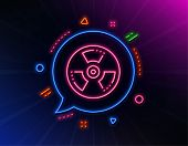 Chemical Hazard Line Icon. Neon Laser Lights. Laboratory Toxic Sign. Chemistry Warning Symbol. Glow  poster
