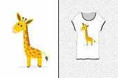 Cute Giraffe Design For A T-shirt. Cartoon Giraffe - Print For T-shirts, Sweatshirts And Souvenirs.  poster