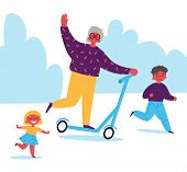 Grandmother Rides A Scooter With Her Grandchildren.children Spend Time With Their Grandmother.lifelo poster