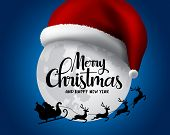 Christmas With Santa Claus In Sleigh Vector Background Design. Merry Christmas And Happy New Year Gr poster