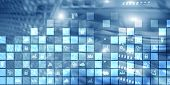 Digital Abstract Background Pixelated Icons Blurred Modern Server Room. Technology Telecommunication poster