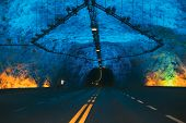Laerdal Tunnel, Norway. Road On Illuminated Tunnel In Norwegian Mountains. Famous Longest Road Tunne poster