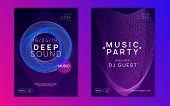 Electronic Fest. Dynamic Fluid Shape And Line. Energy Show Magazine Set. Neon Electronic Fest Flyer. poster
