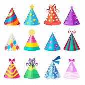 Birthday Caps. Cartoon Party Decoration Celebration Element Vector Colored Caps Collection. Birthday poster