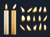 Wax Candles. Romantic Lights From Candle Flame Different Shapes Of Fuse Vector Realistic Collection. poster
