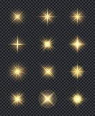 Glowing Stars. Realistic Lighting Shining Effects Sparks Celebration Vector Symbols. Star Bright And poster