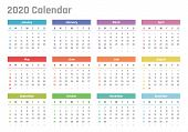 Calendar For 2020 Starts Sunday, Vector Calendar Design 2020 Year poster