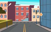 City Street Cartoon. Urban Structure Buildings Crossroad Vector Panoramic Outdoor Picture. Cartoon E poster