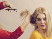 Woman With Scissors Ready To Hair Cutting poster