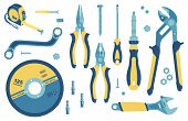 Сollection Of Tools For Construction And Repair: Circle For A Grinder, Roulette, Spanner, Adjustable poster