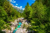 Stunning Rafting And Kayaking Destination In Europe. Spectacular Recreation Place And Kayaking Locat poster