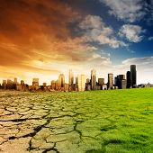 stock photo of global-warming  - Effect of Global Warming on a city - JPG