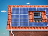 Solar panels for on the red tiled roof of suburban house, Photovoltaic module and regenerative energ poster