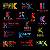 K Letter Icons Of Travel Agency, Yacht Sport Club Or Sportswear Store And Business Group. Vector Cor poster