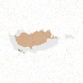 Map Of Cyprus. Mosaic Style Map With Flag Of Cyprus. Vector Illustration. poster