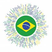 Brazil Sign. Country Flag With Colorful Rays. Radiant Sunburst With Brazil Flag. Vector Illustration poster