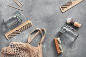 Eco Friendly Objects. Cotton Bag, Glass Jar, Wooden Comb, Wooden Shaving Brush, Cuticle Pusher, Brus poster