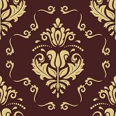 Classic Seamless Pattern. Damask Orient Ornament. Classic Vintage Brown And Golden Background. Orien poster