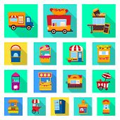 Vector Design Of Amusement And Store Symbol. Collection Of Amusement And Urban Stock Symbol For Web. poster