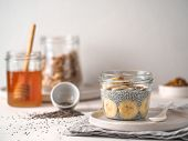 Healthy Breakfast Concept And Idea - Chia Pudding With Organic Banana And Bee Pollen. Glass Jar Chia poster