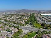 Aerial View Suburban Neighborhood With Big Villas Next To Each Other In Black Mountain, San Diego, C poster