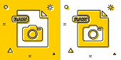 Black Raw File Document. Download Raw Button Icon Isolated On Yellow And White Background. Raw File  poster