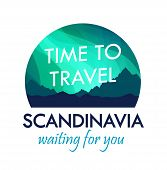 Scandinavia Travel Badge Isolated On White, Label For Travel Agency Organizing Tours To Scandinavia poster