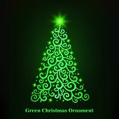 Vector Of A Glowing Green Christmas Tree Ornament.  Merry Christmas And Happy New Year. Christmas De poster