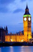 Big Ben and River Thames  International Landmark of London England United Kingdom at Dusk poster