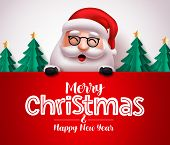 Santa Claus Character Vector Christmas Greeting Template. Christmas Santa Claus Holding Greeting Boa poster