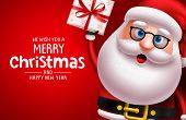 Christmas Santa Claus Character Vector Banner Template. Merry Christmas Greeting Text With Santa Cla poster