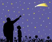 Father Showing Shooting Star To His Amazed Child In The Garden. Father Teaching Kid About Science, A poster