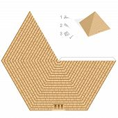 Pyramid Paper Model. Easy Template - Historical, Egyptian 3d Paper Art - Cut Out, Fold And Glue It.  poster