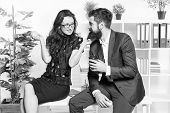 Its Just A Harmless Flirt. Romantic Couple Conducting Workplace Affair. Boss And Secretary Having Ro poster