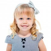 pic of cute little girl  - Little blond girl smiling isolated on white background - JPG