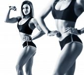 Collage Of Woman In Sportswear Demonstrated Her Muscular Athletic Body. Isolated On White poster