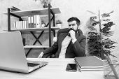 Developing Business Strategy. Risky Business. Concentration And Focus. Man Bearded Boss Sit Office W poster