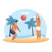 Cartoon People Playing Summer Volleyball On Beach. Man Playing Hand Ball Sport. Summertime Hobby. Vo poster