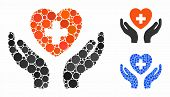 Cardiology Care Hands Mosaic Of Small Circles In Various Sizes And Color Hues, Based On Cardiology C poster